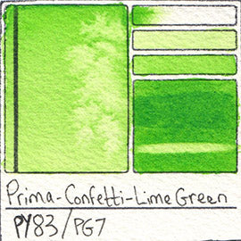 PY83 PG7 Prima Art Philosophy Confetti Lime Green Watercolor Swatch Card