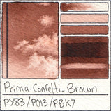 PY83 PO13 PBk7 Prima Art Philosophy Confetti Brown Watercolor Swatch Card Color Chart