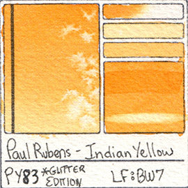 PY83 Paul Rubens Hint of Glitter Pan Set Watercolor Indian Yellow Swatch Card Color Chart