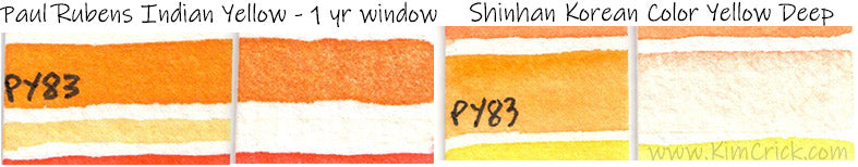py83 arylide yellow pigment fugitive fading watercolor paul rubens shinhan superior
