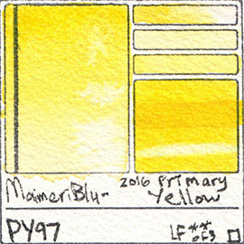 PY97 Maimeri Blu Watercolor Swatch 2016 Primary Yellow database pigment hue color vibrant opaque