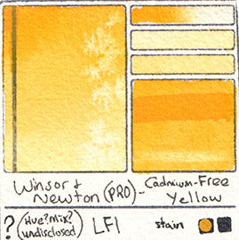 PY Pigment Winsor and Newton Professional Watercolor Cadmium-Free Yellow Swatch