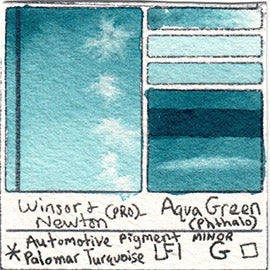 Winsor and Newton Professional Aqua Green Watercolor Swatch Card Color Chart