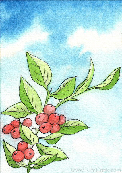 Paul Rubens watercolor painting berry leaves floral sky blue clouds tutorial review
