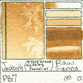 Pbr7 Jackson's Store Brand Raw Sienna smooth pigment database sennelier art color swatch card