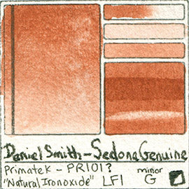 Primate K PR101 Daniel Smith Watercolor Sedona Genuine Natural Red Iron Oxide Pigment Swatch Database Card