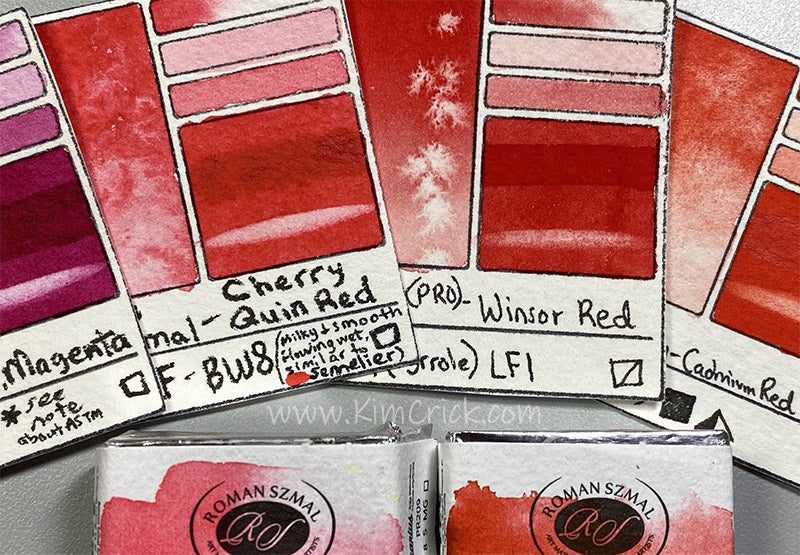 Winsor Red pr254 quin cherry coral pr209 magenta pr122 primary mixing red cool and warm