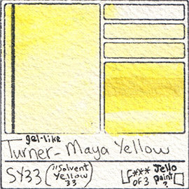 SY33 Turner Watercolor Maya Yellow Color Solvent Pigment Database Swatch Card