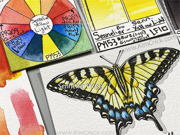 Sennelier PY153 watercolor painting butterfly tiger swallow art professional paint aquarelle
