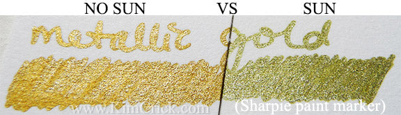 Sharpie metallic gold paint marker lightfast test fugitive fading UV light art supply reviews