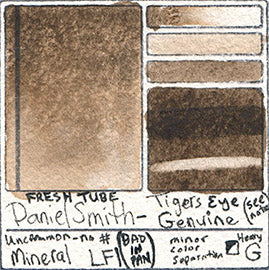 Daniel smith tigers eye genuine watercolor mineral pigment brown paint swatch card color chart primatek