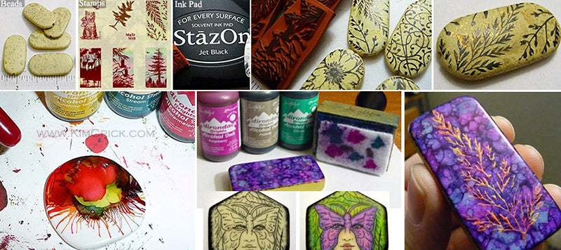 Turn blank beads into personalized decorated jewelry rubber stamp draw alcohol ink