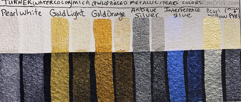 Turner watercolor color chart metallic pearl mica shimmer pearlescent paint swatch