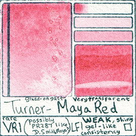 VR1 Turner Watercolor Maya Red Color Art Pigment Database Swatch Card