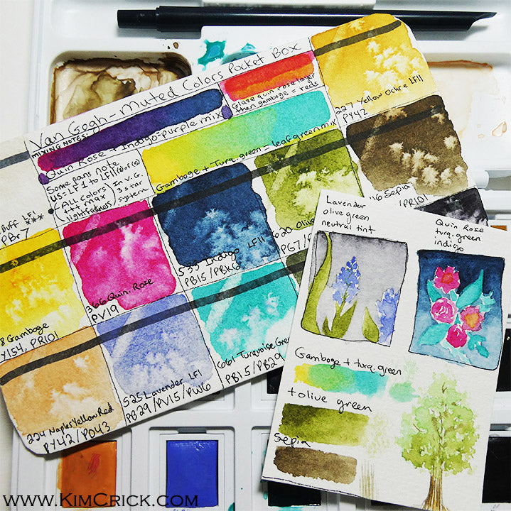 Van Gogh muted pocket box watercolor review swatch card color chart