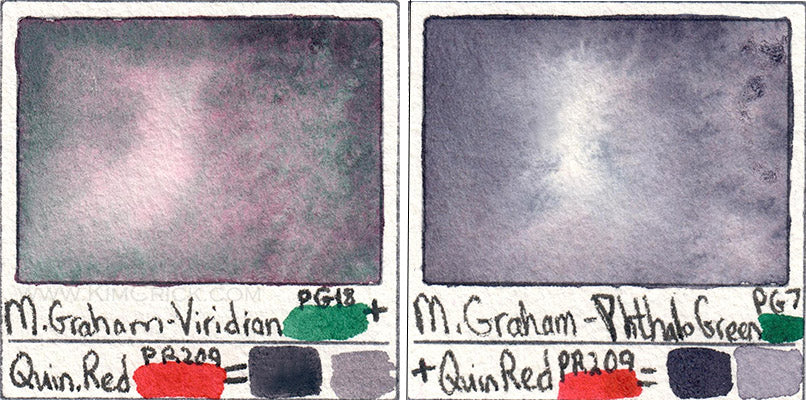 Viridian and quin cherry coral pg18 and pr209 mixing neutral gray watercolor granulation