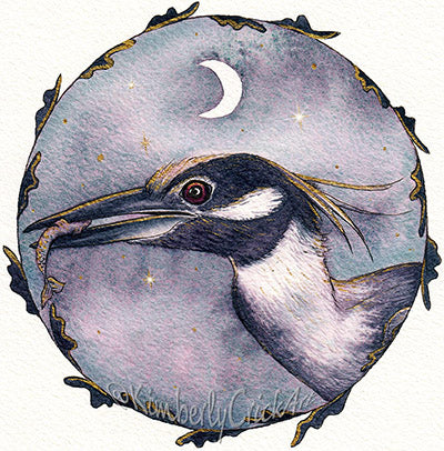 Kimberly Crick art bird painting custom moonglow mix watercolor art daniel smith fugitive replacement