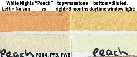 White Nights peach pastel watercolor fugitive po64 py3 pw6 pigment database lightfast test