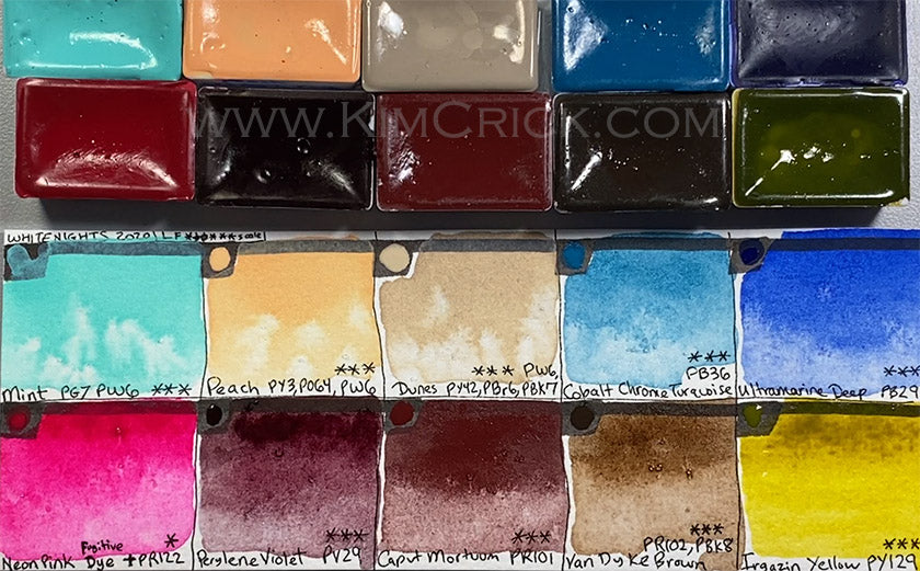 white nights color chart new 2020 colors mint peach dune cobalt chrome turquoise neon pink caput mortuum watercolor