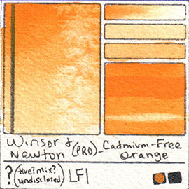 Winsor and Newton Professional Cadmium Free Orange Watercolor Swatch Card Color Chart