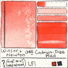 Winsor and Newton Professional Cadmium Free Red Watercolor Swatch Card Color Chart