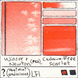 Winsor and Newton Professional Cadmium Free Scarlet Watercolor Swatch Card Color Chart