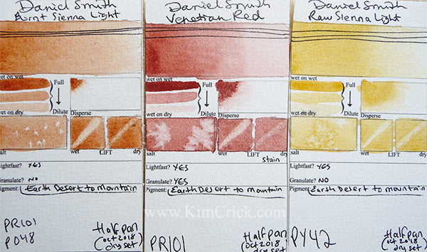 Daniel Smith color chart swatch card burnt sienna indian red raw sienna light