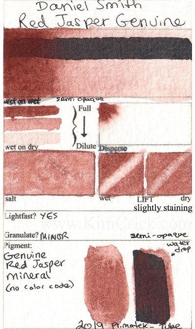 Daniel Smith watercolor Red Jasper Genuine swatch card color chart