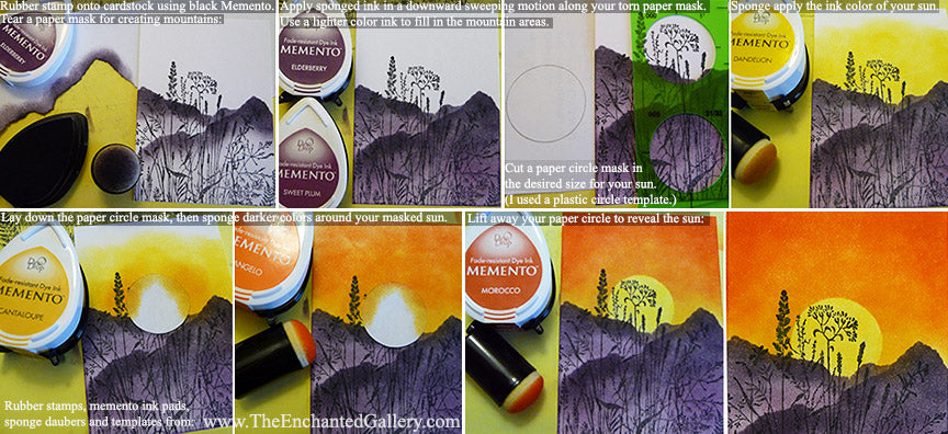 memento-sunset-mountains-rubber-stamping-ink-sponge-dauber-tutorial-card-making