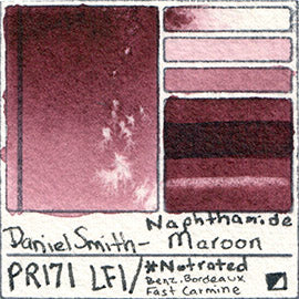pr171 daniel smith naphthamide maroon watercolor pigment database swatch card