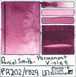 pr202 pb29 daniel smith permanent violet watercolor color separating pigment swatch card