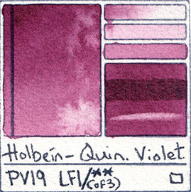 pv19 holbein quin violet watercolor professional paint color chart swatch pigment