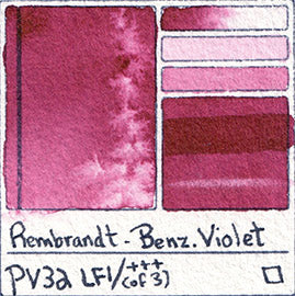 pv32 rembrandt benz violet watercolor pigment database color chart swatch Benzimiazolone