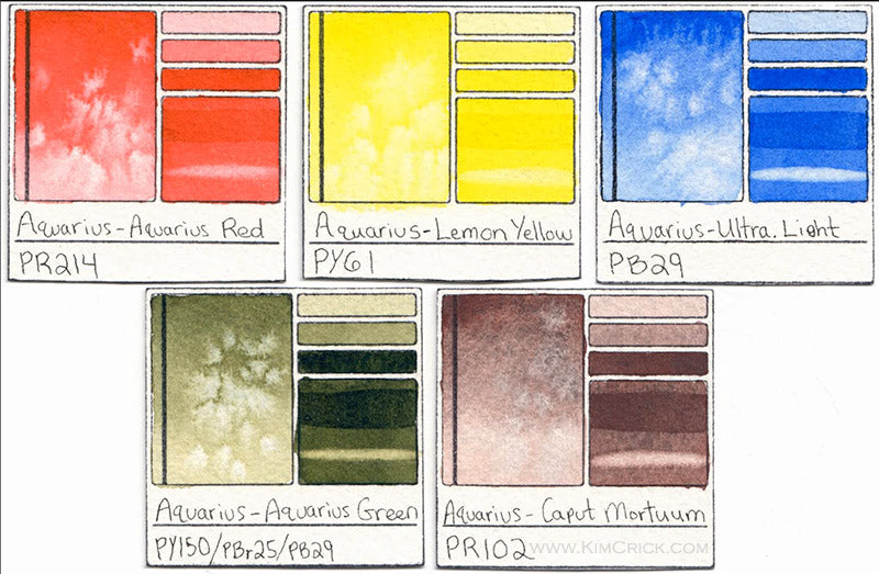 ROMAN SZMAL aquarius red green caput mortuum watercolor swatch card color chart ultramarine blue light
