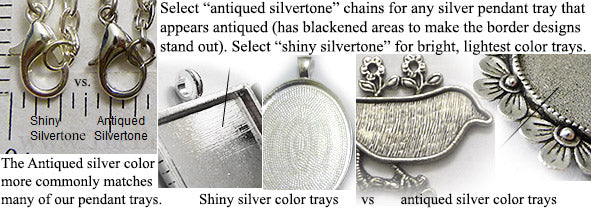 the difference between shiny and antique silver DIY pendant necklace jewelry making supplies