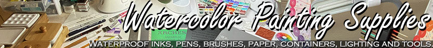 watercolor supplies list paper pens waterproof ink paint brushes