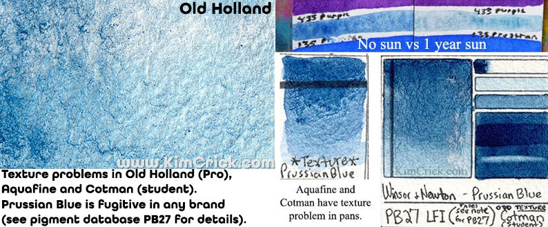 prussian blue is fugitive pb27 pigment fading lightfast and texture flocculation gritty