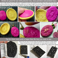 Jewelry making pendant trays and polymer clay flexible push molds project idea craft