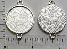 25mm Circle Pendant Tray Textured with Two Loops Shiny Silver (Select Optional Insert)