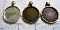 25mm Circle Pendant Tray Textured (Select Color or Optional Insert)