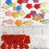 10mm Wide Frosted Acrylic Flower Charm Beads 40 pack (Select A Color)