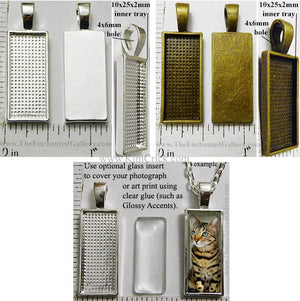 10x25mm Small Rectangle Pendant Tray with glass for picture inserts polymer clay molds