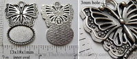 13x18mm Oval Pendant Tray Butterfly Topper Antiqued Silver (Select Optional Insert)