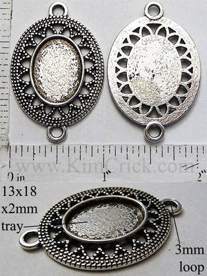13mm x 18mm Oval Pendant Tray Filigree Vintage Lace Connector Link Antiqued Silver (Optional Insert)