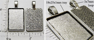 18x25mm Rectangle Pendant Tray with Top Hanger Bail Antiqued Silvertone (Select Amount or Optional Insert)