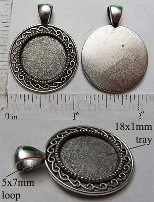 18mm Circle Pendant Tray Repeat Curl Dot Border Antiqued Silver (Optional Insert)