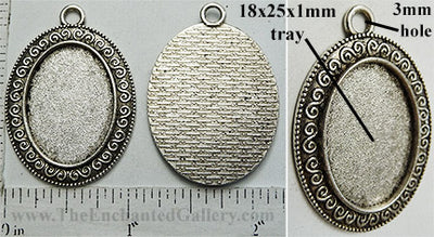 18x25mm Oval Pendant Tray Greek Repeating Spiral Border Textured Back Antiqued Silver (Select Amount or Optional Insert)