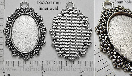 18x25mm Oval Pendant Tray Alternating Daisy Floral Border (Select Amount or Optional Insert)