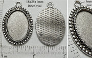 18x25mm Oval Pendant Tray Studded Border Antiqued Silver (Select Amount or Optional Insert)