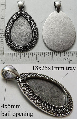 18mm x 25mm Teardrop Pendant Tray Almond Dotted Bail Style Antique Silver